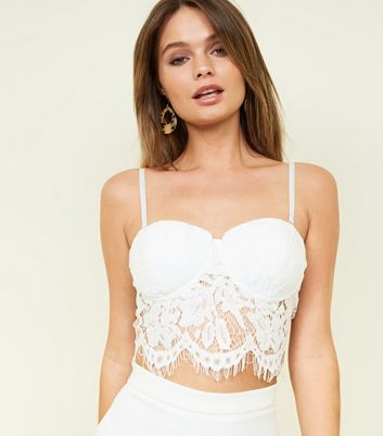White Lace Party Bustier Crop Top