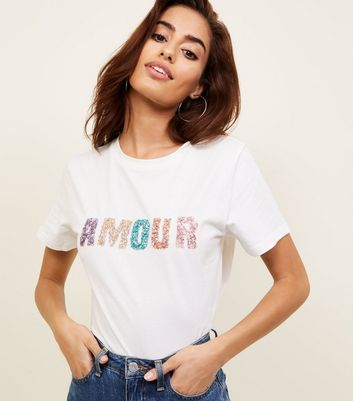 White Amour Embellished Slogan T-Shirt