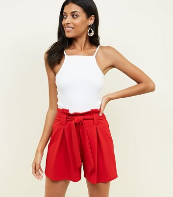 Red Crepe Scuba Tie Front Shorts