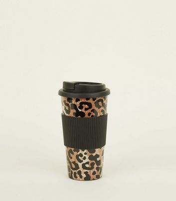 Black Leopard Print Travel Cup