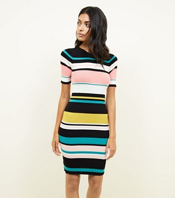 Multi Colour Block Stripe Ribbed Bodycon Dress