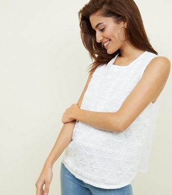 Apricot Cream Fringed Lace Sleeveless Top by New Look