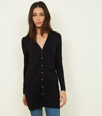Black Longline Slub Button Cardigan