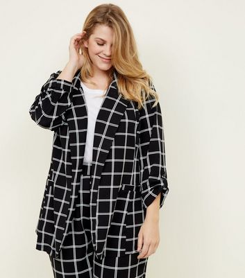 Curves Black Grid Check Scuba Blazer
