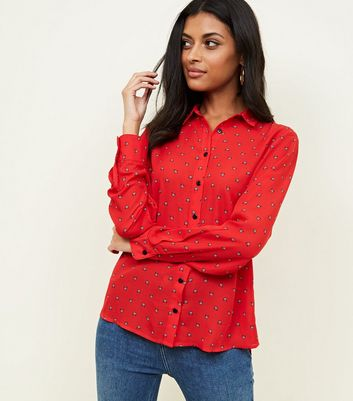 Red Butterfly Print Long Sleeve Shirt