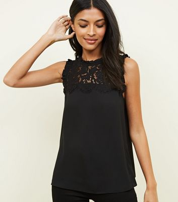Black Lace Front Frill Sleeve Top