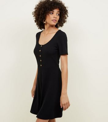 Black Ribbed Button Front Skater Dress