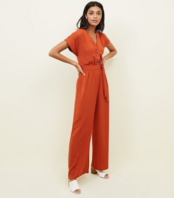 Orange Button Through Wide Leg Jumpsuit