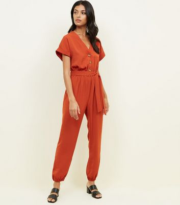 Orange Button Front Linen-Look Cuffed Jumpsuit