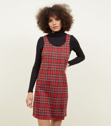 Red Tartan Jersey Pinafore Dress