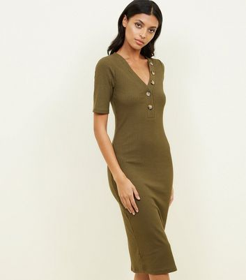 Khaki 1/2 Sleeve Ribbed Button Front Midi Dress