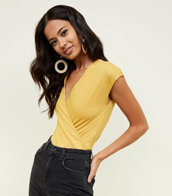 Mustard Ribbed Wrap Front Sleeveless Bodysuit