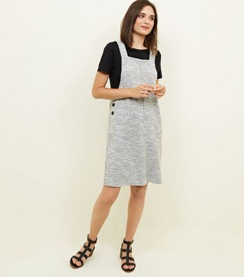 Grey Check Button Side Pinafore Dress