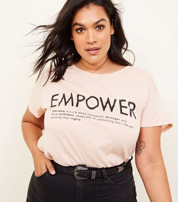 Curves Pale Pink Empower Slogan T-Shirt
