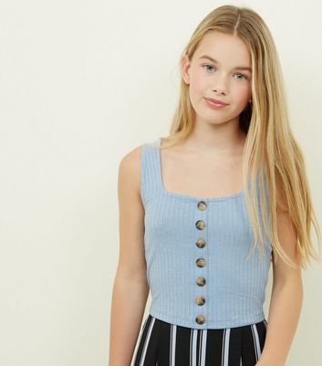 Girls Blue Button Front Ribbed Vest