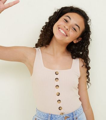 Girls Pale Pink Button Front Ribbed Vest