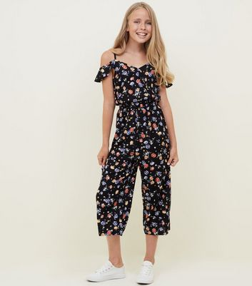 Girls Black Floral Wrap Front Jumpsuit