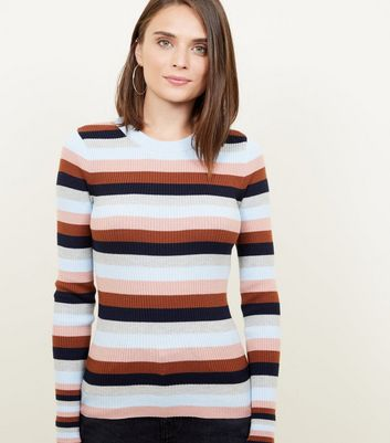 Multi Coloured Stripe Ribbed Crew Neck Jumper