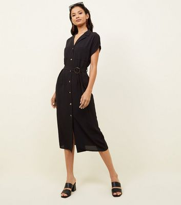 Black Button Front Belted Midi Shirt Dress
