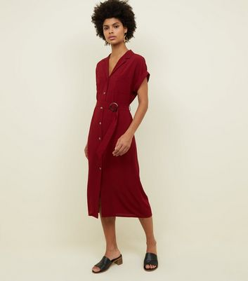 Burgundy Button Front Belted Midi Shirt Dreess