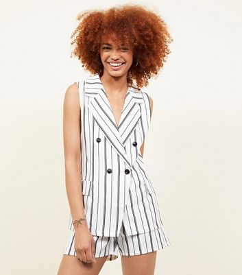 Cameo Rose White Stripe Sleeveless Jacket