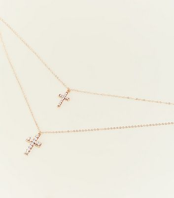 Gold Double Layered Cross Pendant Neckalce