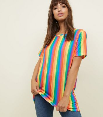 Carpe Diem Rainbow Stripe Longline T-Shirt