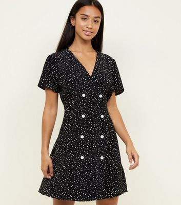 Petite Black Spot Print Double Breasted Tea Dress