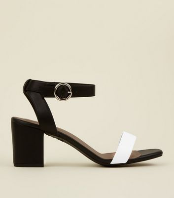 Black Monochrome Comfort Flex Heeled Sandals