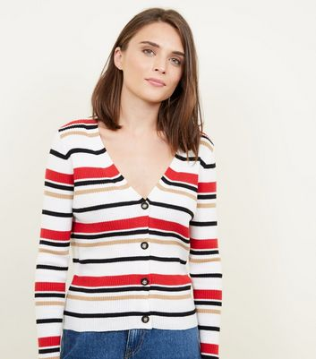 White Multi Stripe Ribbed Cardigan