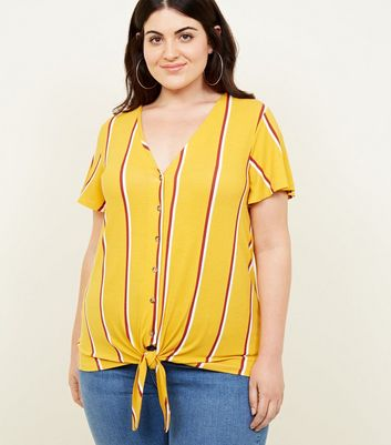Curves Mustard Stripe Button Tie Front T-Shirt