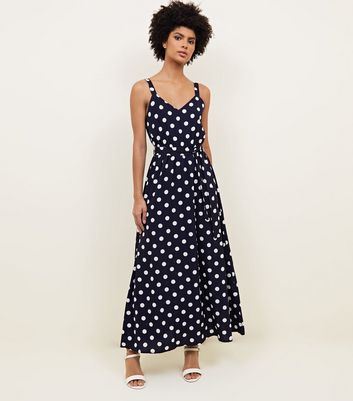 Mela Navy Polka Dot Maxi Dress