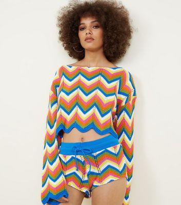 QED Rainbow Zig Zag Knitted Shorts