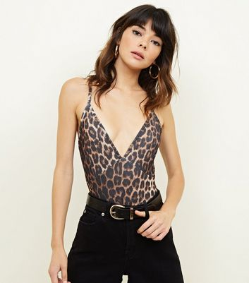 Brown Leopard Print Cross Strap Bodysuit