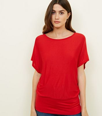 QED Red Short Batwing Sleeve Top