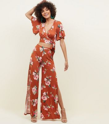 Rust Floral Slinky Flutter Sleeve Party Crop Top