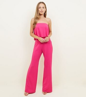 Bright Pink Frill Bandeau Crepe Party Jumpsuit