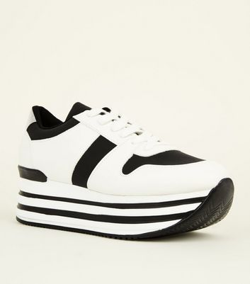 Black Contrast Stripe Chunky Trainers