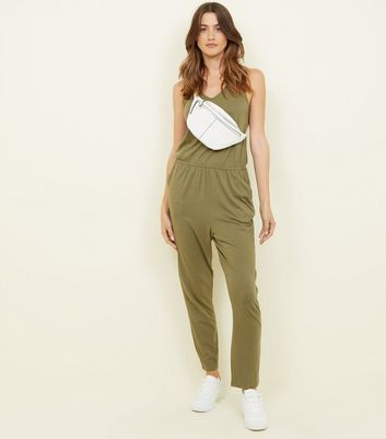 Khaki Sleeveless Jersey Jumpsuit