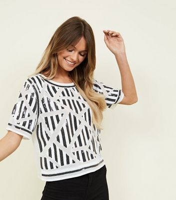 Cameo Rose White Zig Zag Sequin and Bead Top