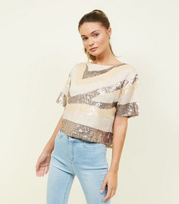 Cameo Rose Bronze Sequin Embellished Top