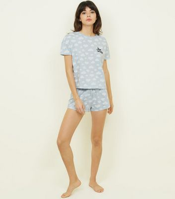 Pale Blue Cloud Print T Shirt And Shorts Pyjama Set by New Look