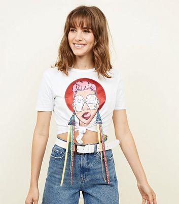 Cameo Rose White Ice Cream Lady Tie Front Cropped T-Shirt