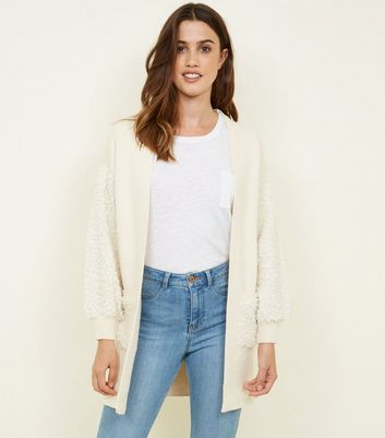 White Faux Teddy Fur Patch Fine Knit Cardigan