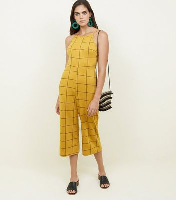 Yellow Check High Neck Culotte Jumpsuit