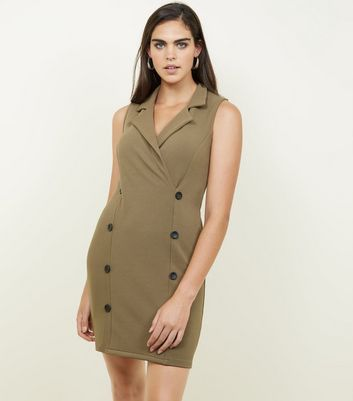 Khaki Double Breasted Sleeveless Dress