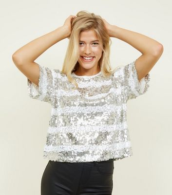 White Sequin Stripe Party T-Shirt