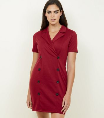 Plum Double Breasted Short Sleeve Dress