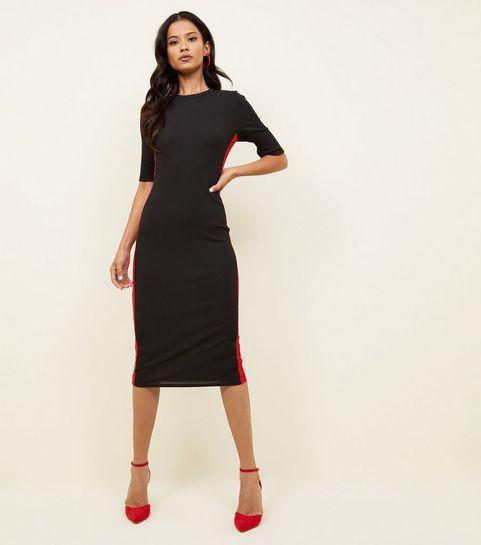 Black Side Stripe Ribbed Midi Dress