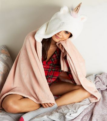 Pale Pink Fluffy Unicorn Slanket by New Look